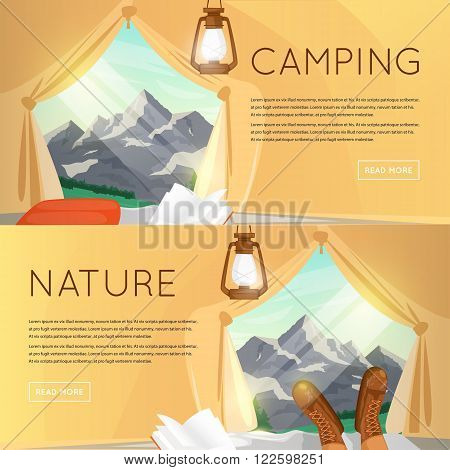 Outdoor activities. Summer adventure. Mountain View from the tent. Mountains background, hiking equipment, camping, adventures in nature, sports. Banners. Vector illustration and flat icons.