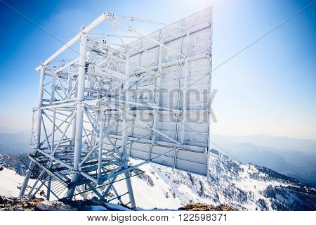 repeater radio antenna in the high mountains