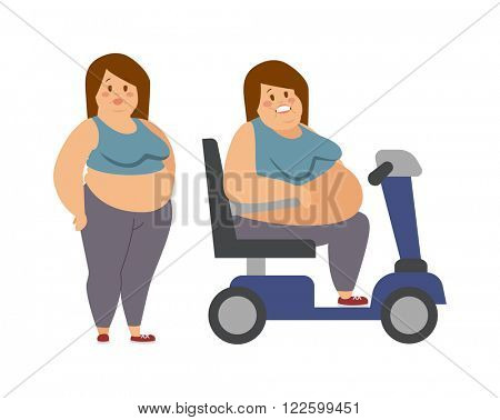 Cartoon character of fat woman and fat woman sitting, dieting fitness. Fat woman standing next to her fat sister cartoon vector flat illustration.