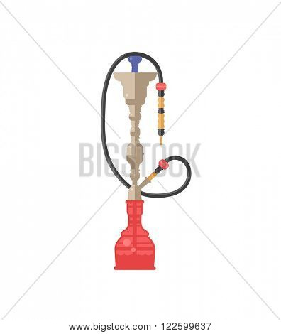 Hookah tobacco arabic tube and relaxation turkish hookah traditional symbol. Colorful modern smoke hookah flat vector illustration isolated on white background.