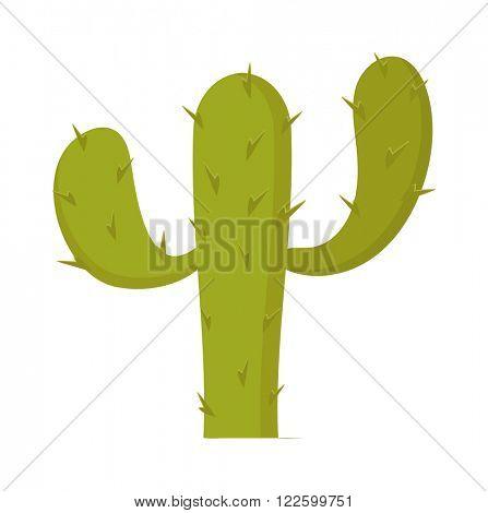 Cactus green tropical plant and mexican cactus flora natural symbol vector. Western botanical cactus. Plant carnegiea gigantea green cactus cartoon vector illustration. Home or outside plant