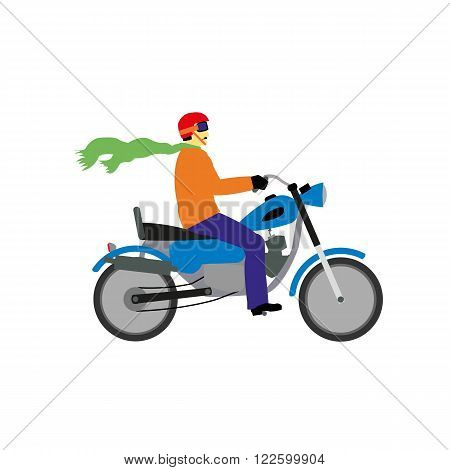 A motorcyclist with a red helmet and blue bike