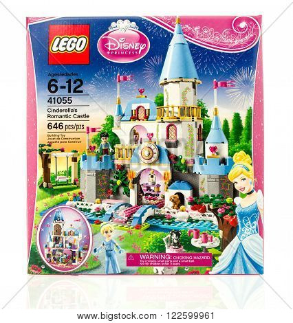 Winneconne WI - 18 Dec 2015: Box of Lego Cinderela's romantic castle from the Lego Disney collection.