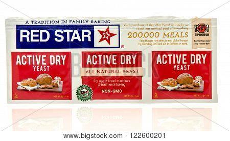 Winneconne WI - 24 Dec 2015: Package of Red Star yeast used in baking bread.