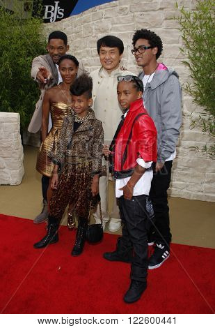 Jackie Chan, Will Smith, Jada Pinkett Smith, Jaden Smith and Willow Smith at the Los Angeles Premiere of