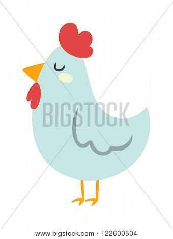 Cartoon chicken character and nice cartoon chicken farm bird vector. Cool  Farm chicken white bird isolated on white. Chuck cartoon bird with red hat