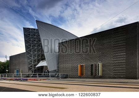 MOLODECHNO, BELARUS - JULY 3TH 2014: Facade of modern amphitheater in Molodechno Belarus on July 3 2014.