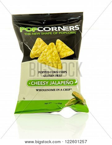 Winneconne WI - 17 Feb 2016: Bag of Popcorners chips in cheesy jalapeno flavor.