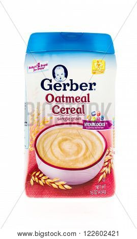 Winneconne WI - 20 April 2015: Bottle of Gerber oatmeal cereal for babies and toddlers.
