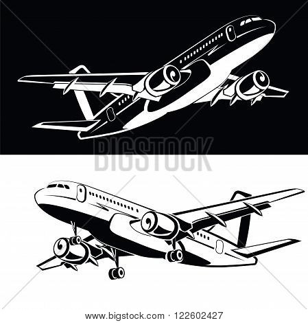 Set of two the plane is landing and takeoff gear, on a white and black background Airplane icon in a monochrome style. Airlines. Flying in the sky plane. Aircraft silhouettes high full. Business trip.