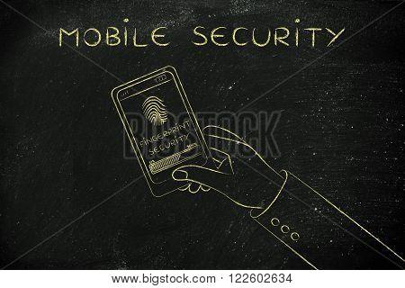 Mobile Security, Smartphone Screen With Fingerprint Scan In Progress