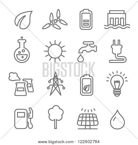 Ecology line Icons wind nuclear and solar power or renewable green energy vector