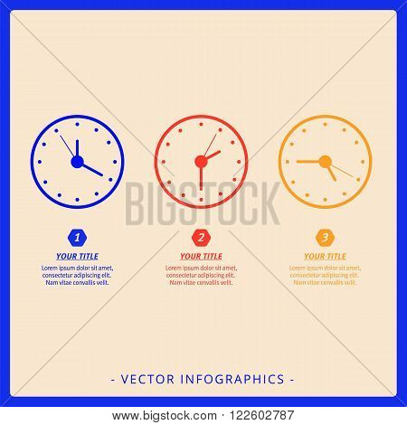Editable infographic template of dial chart with three clocks, multicolored version