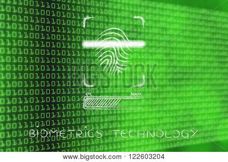 Biometrics Technology: Fingerprint Scan In Progress