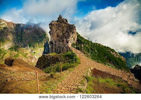 trekking from the third highest mountain Pico do Arieiro towards Pico Ruivo Madeira Portugal