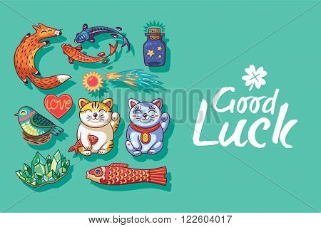 Good Luck. Collection of happy icons - maneki neko, foxes, carp, comet, heart, bird, emerald, carp kite. Lucky icons and design elements isolated on green background