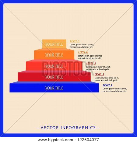 Editable infographic template of stacked pyramid chart with five levels, titles and sample text, multicolored version