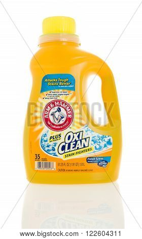 Winneconne WI - 4 Feb 2016: Bottle of Arm & Hammer with Oxi Clean laundry detergent.