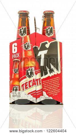 Winneconne WI - 10 Jan 2016: A six pack of Tecate beer.