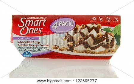 Winneconne WI - 2 March 2016: Package of Smart ones chocolate ship cookie dough sundae by weightwatchers.