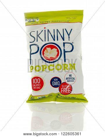 Winneconne WI - 17 Feb 2016: Bag of Skinny Pop popcorn.