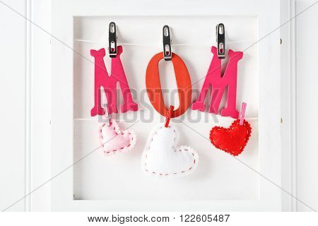 Red And Pink Mom Letters