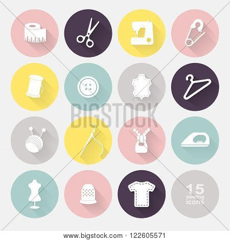 Sewing equipment and needlework. Multicolored icons for sewing knitting needlework pattern. Small device. Vector illustration