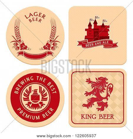 Retro round and square beer coaster designs