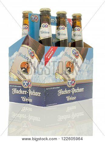 Winneconne WI - 10 Jan 2016: A six pack of Hacker Pschorr Weisse beer.