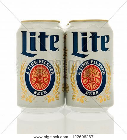 Winneconne WI - 17 Feb 2016: Six pack of Miller Lite in cans.