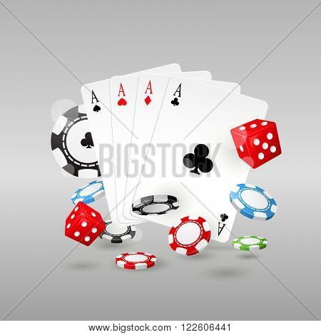 Gambling and casino symbols - poker chips playing cards and dice