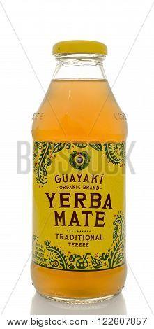 Winneconne WI - 5 March 2016: A bottle of Guayaki yerba mate drink