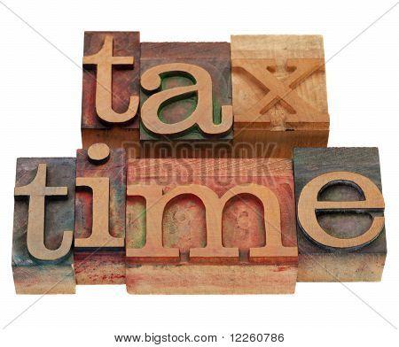 Tax Time In Letterpress Type