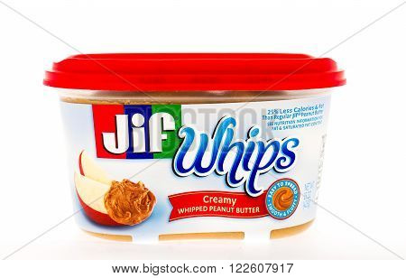 Winneconne WI - 3 May 2015: Container of Jif whips peanut butter in creamy whipped style.
