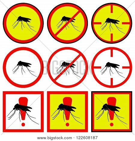Vector illustration of yellow, red icons with mosquito.