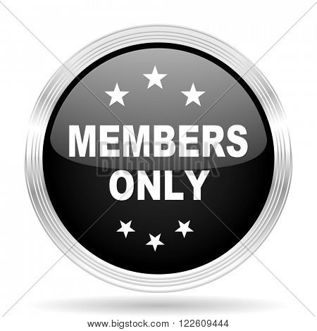members only black metallic modern web design glossy circle icon