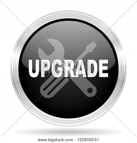 upgrade black metallic modern web design glossy circle icon