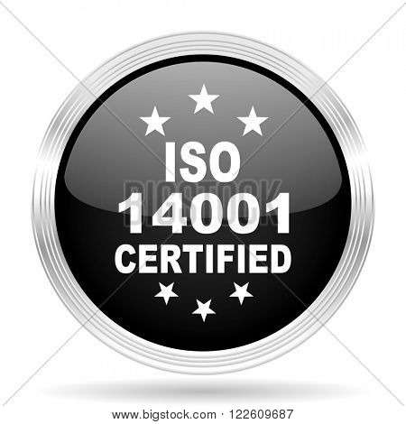 iso 14001 black metallic modern web design glossy circle icon
