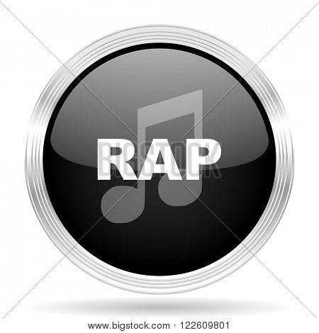 rap music black metallic modern web design glossy circle icon