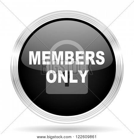 members only black metallic modern web design glossy circle icon