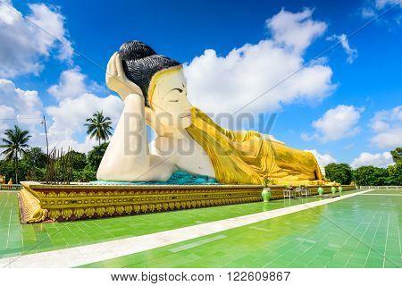Bago, Myanmar at Mya Tha Lyaung reclining buddhia.