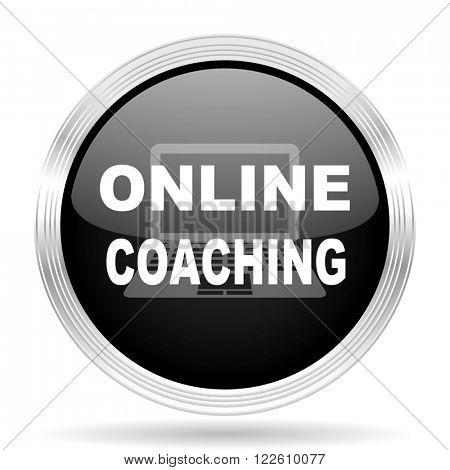 online coaching black metallic modern web design glossy circle icon