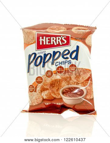 Winneconne WI - 17 Feb 2016: Bag of Herr's potato popped chips in tangy BBQ flavor
