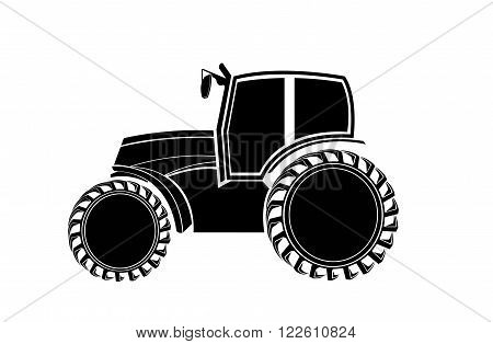 Black-and-white silhouette of the tractor. Side View.