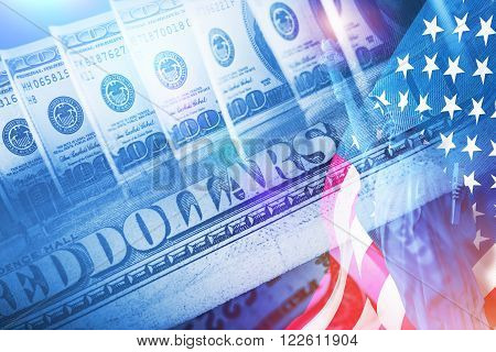 American Banking Concept. American Dollars Statue of Liberty and United States of America Flag. Powerful Currency Conceptual Illustration.
