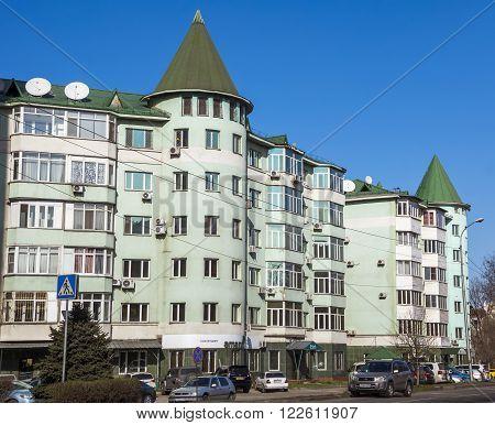 ALMATY KAZAKHSTAN - MARCH 21 2016: Modern architecture in the historic centre of Almaty.