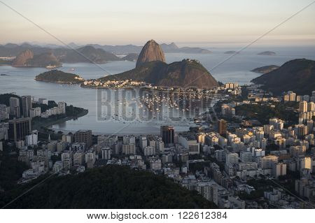 View of Botafogo bay with the Sugar Loaf in the background during the day