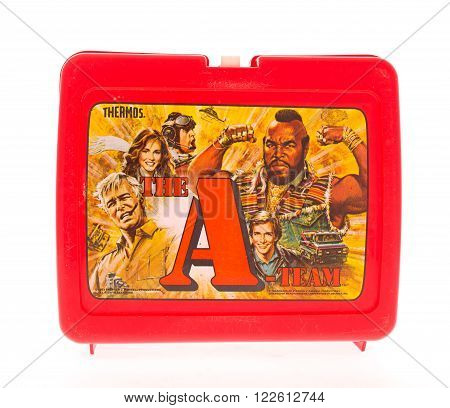 Winneconne WI - 20 April 2015: Plastic lunch box from the 1980's featuring the A-Team a popular TV series.