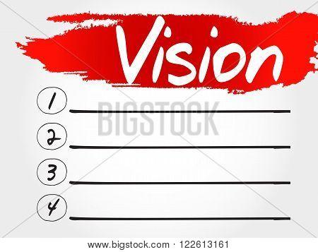 Vision blank list business concept, presentation background