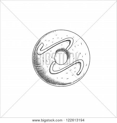 Engraving vector illustration of sweet doughnut isolated on white background